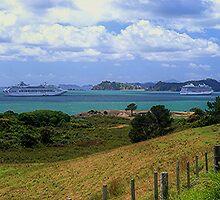 Sea Princess and Marina at anchor, Bay of Islands, New Zealand......! by Roy  Massicks