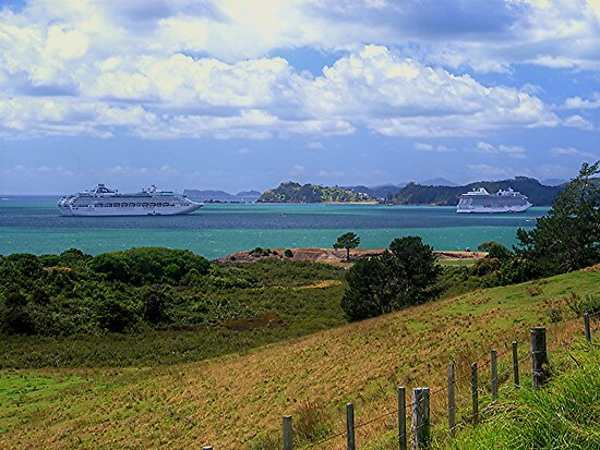 Sea Princess and Marina at anchor, Bay of Islands, New Zealand......! by Roy  Massicks