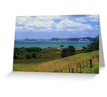 Sea Princess and Marina at anchor, Bay of Islands, New Zealand......! Greeting Card