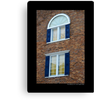Red Brick Building With Blue Exterior Shutters Windows - Port Jefferson, New York  Canvas Print