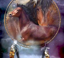 Dream Catcher - Spirit Horses by Carol  Cavalaris