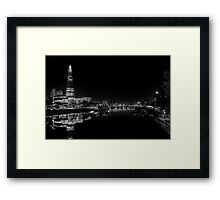 The Shard at Night black and White Framed Print
