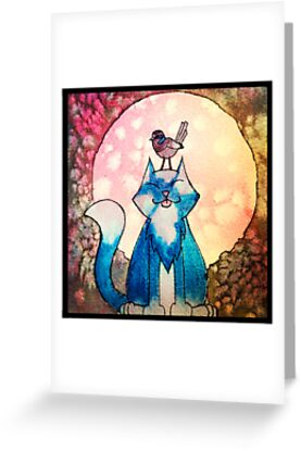 Moon Cat Watercolour by Tracey Quick