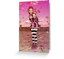 Pink Sakura - Anime Girl Greeting Card