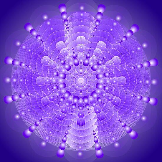 Healing Mandala Electric Violet Blue Light by shoffman