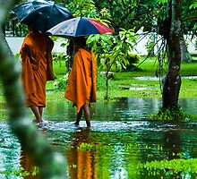 Walking monks in Laos by johnxmas