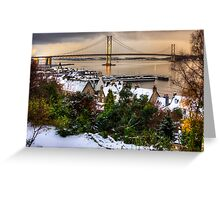 Queensferry Harbour and Road Bridge Greeting Card