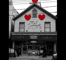 Z Pita Mediterranean Restaurant Building With Red Hearts - Port Jefferson, New York  by © Sophie W. Smith