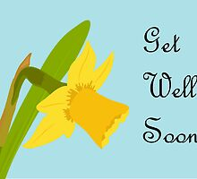 Get Well Soon / Single Daffodil by AllJDesigns