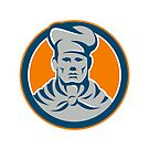 Chef Cook Baker Hat Circle Retro by retrovectors