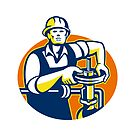 Pipefitter Oil Worker Tighten Pipe Valve by retrovectors
