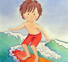 Surfer Boy Watercolour by Kristy Spring-Brown