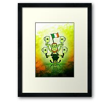 Leprechaun Juggling Beers and Irish Flag Framed Print