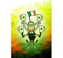 Leprechaun Juggling Beers and Irish Flag Photographic Print