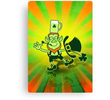 Leprechaun Balancing a Glass of Beer on his Head Canvas Print