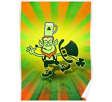 Leprechaun Balancing a Glass of Beer on his Head Poster