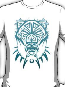 Fierce Tribal Bear T-Shirt Design (Teal) T-Shirt