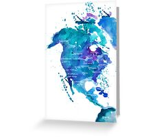 Watercolor Map of North America Greeting Card