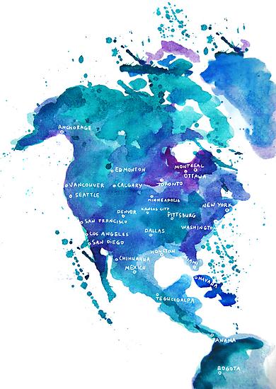 Watercolor Map of North America by Anastasiia Kucherenko