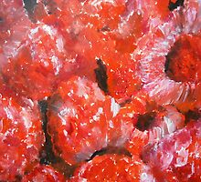 Raspberries Fine Art Still Life Fruit In Acrylics by RedCoatStudio