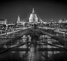 St Paul's Cathedral over the bridge. by James Farley