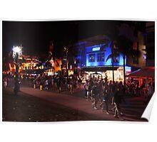 A Friday Evening on Ocean Drive Blvd, Miami Beach, Florida Poster