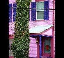 East Broadway Pink House Detail - Port Jefferson, New York  by © Sophie W. Smith