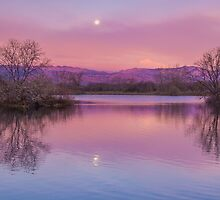 Pink Sawhill Moonset by Greg Summers