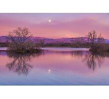 Pink Sawhill Moonset Photographic Print