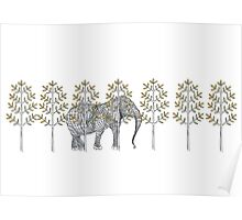 wire elephant illustration Poster