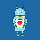 Blue Cute Clumsy Robot With Heart Case by Boriana Giormova
