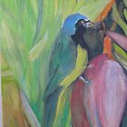 Green Jay in Banana Tree by Lynda Earley