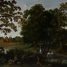 Landscape with a courtly procession before Abtspoel Castle, 1619 by Bridgeman Art Library