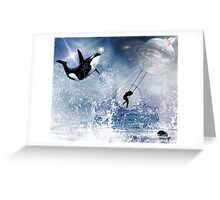 ...And the Whale Jumped Over the Moon... Greeting Card