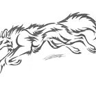 Tribal Wolf Drawing by CaptainJeff
