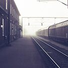 Train station in fog by Henrik Hansen