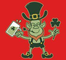 Green Leprechaun Drinking a Toast Kids Clothes