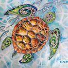 """""""Honu Island Waters"""" Tropical Tribal Sea Turtle Painting by Christie Marie Elder-Ussher by Christie Elder"""
