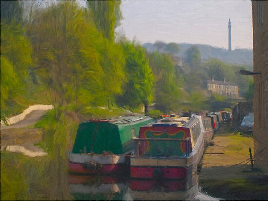 Canal Barges at Sowerby Bridge - Oil Painting Effect by Glen Allen