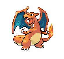 Pixel Charizard Photographic Print