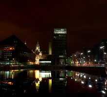 Liverpool docks at night by Beverly Cash