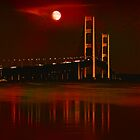 Mackinac Bridge in Red by Theodore Black