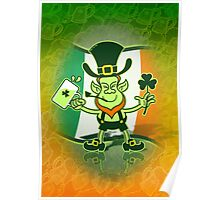 Green Leprechaun Drinking a Toast Poster