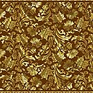 Gold And Brown Tones Vintage Elegant Floral Damasks by artonwear