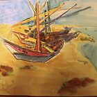 AnOther OReilly ORiginal Painting reflections a humboldt bay crabbing boats on sonoma dunes sand dunes  by Timothy C O'Reilly