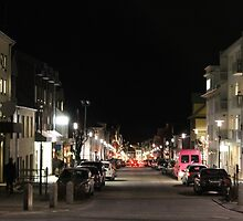 Reykjavik City Street at Night by Snowkitten