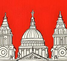 St Paul's Facade ( Orange ) by Adam Regester
