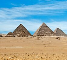 Menkaure with queens, Khafre & Cheops Pyramids. by bulljup