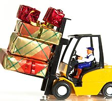Fork lift and Christmas gifts by Norma Cornes
