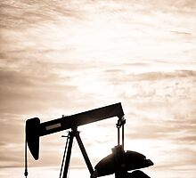 Rustic Oil Well Pump Vertical Sepia by Bo Insogna